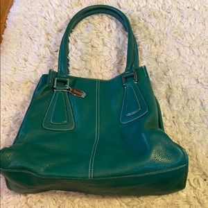 Tiganello Kelly Green Pebbled Leather Tote